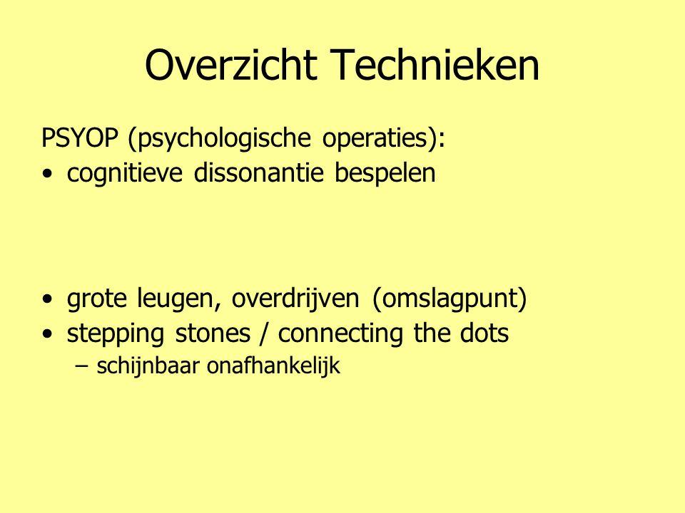Overzicht Technieken PSYOP (psychologische operaties): •cognitieve dissonantie bespelen •emoties (angst) •problem – reaction – solution –valse vlag •g