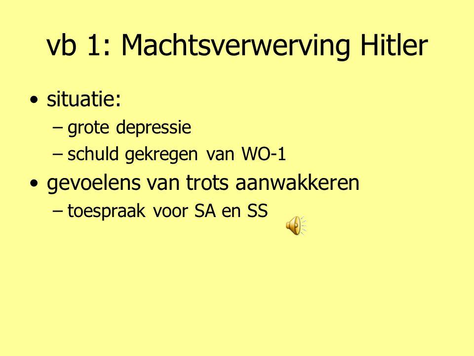 vb 1: Machtsverwerving Hitler •situatie: –grote depressie –schuld gekregen van WO-1 •gevoelens van trots aanwakkeren –toespraak voor SA en SS
