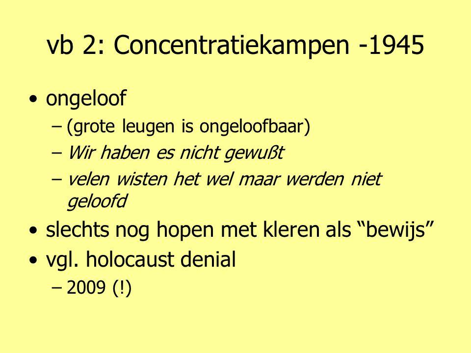 vb 2: Concentratiekampen -1945 •ongeloof –(grote leugen is ongeloofbaar) –Wir haben es nicht gewußt –velen wisten het wel maar werden niet geloofd •slechts nog hopen met kleren als bewijs •vgl.