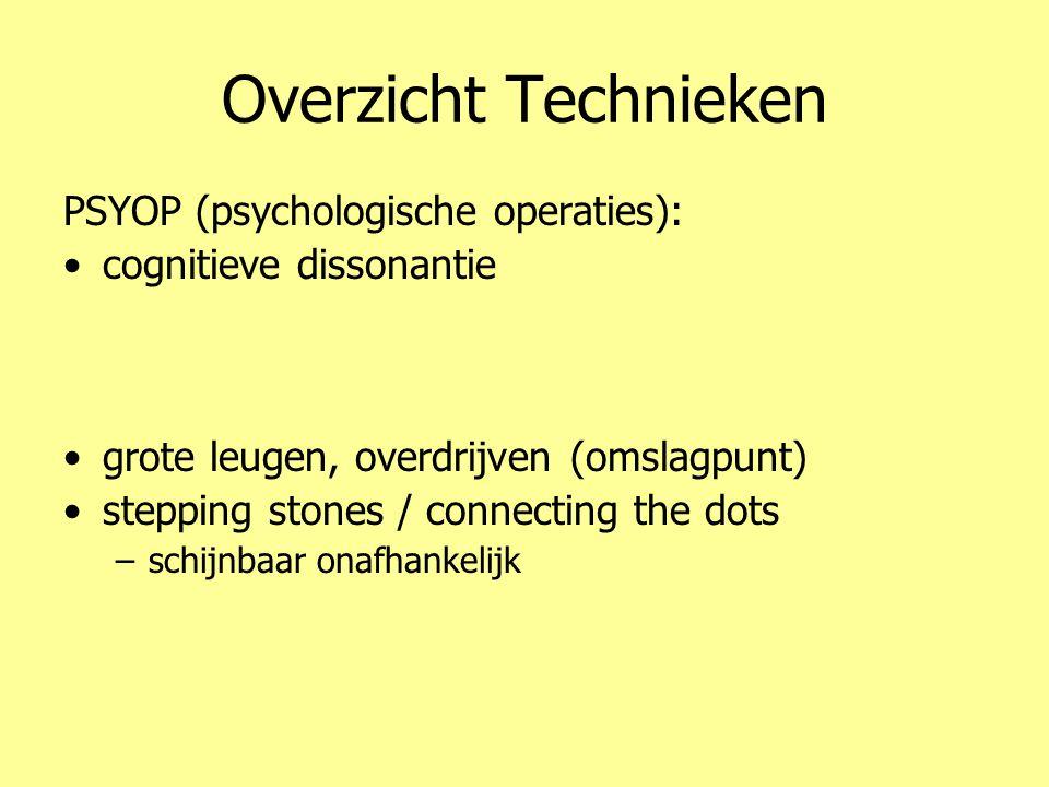 Overzicht Technieken PSYOP (psychologische operaties): •cognitieve dissonantie •emoties (angst) •problem – reaction – solution –valse vlag •grote leug