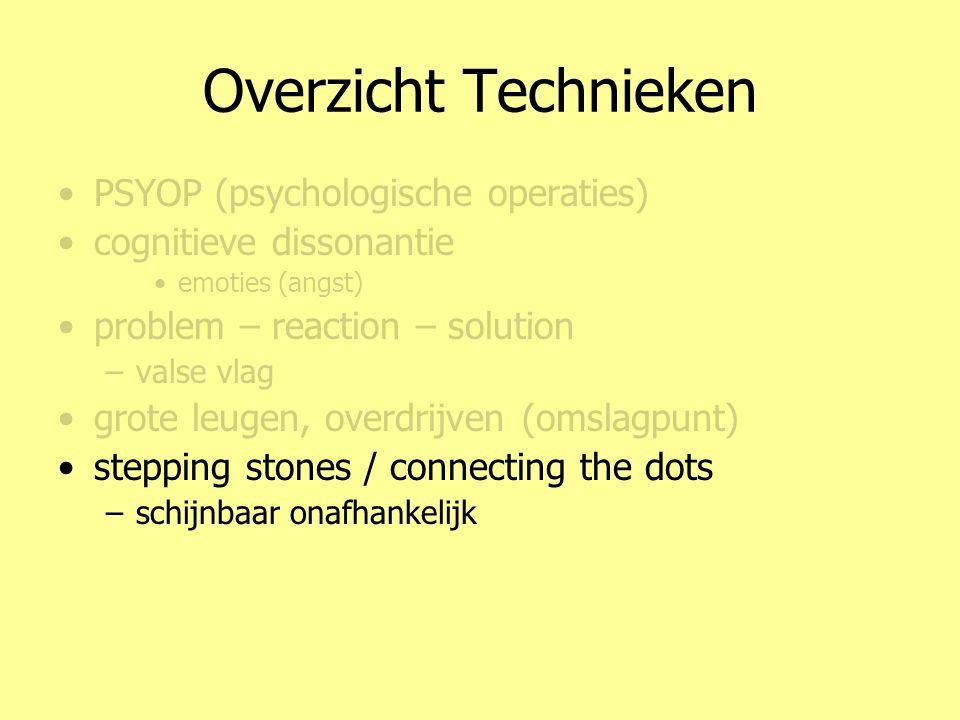 Overzicht Technieken •PSYOP (psychologische operaties) •cognitieve dissonantie •emoties (angst) •problem – reaction – solution –valse vlag •grote leug