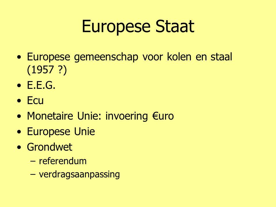Europese Staat •Europese gemeenschap voor kolen en staal (1957 ?) •E.E.G. •Ecu •Monetaire Unie: invoering €uro •Europese Unie •Grondwet –referendum –v