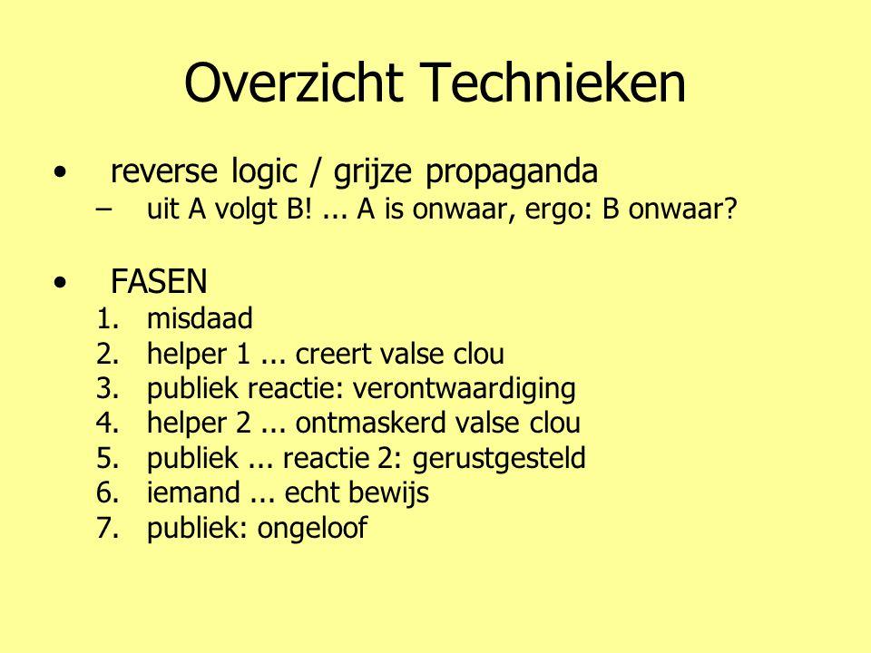 Overzicht Technieken •reverse logic / grijze propaganda –uit A volgt B!... A is onwaar, ergo: B onwaar? •FASEN 1.misdaad 2.helper 1... creert valse cl