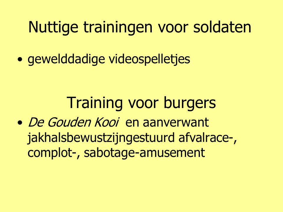Nuttige trainingen voor soldaten •gewelddadige videospelletjes Training voor burgers •De Gouden Kooi en aanverwant jakhalsbewustzijngestuurd afvalrace-, complot-, sabotage-amusement