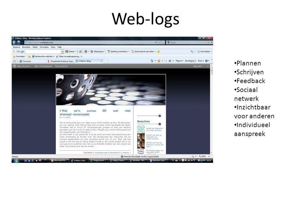 Web-logs • Plannen • Schrijven • Feedback • Sociaal netwerk • Inzichtbaar voor anderen • Individueel aanspreek