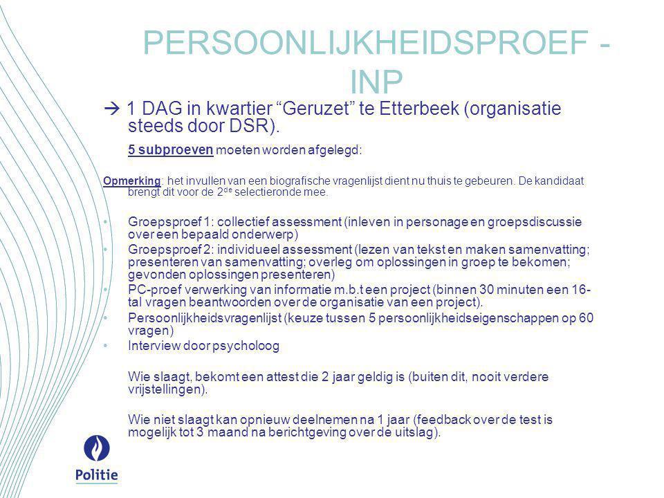 """PERSOONLIJKHEIDSPROEF - INP  1 DAG in kwartier """"Geruzet"""" te Etterbeek (organisatie steeds door DSR). 5 subproeven moeten worden afgelegd: Opmerking:"""
