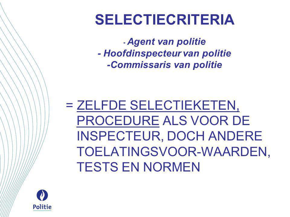 SELECTIECRITERIA - Agent van politie - Hoofdinspecteur van politie -Commissaris van politie = ZELFDE SELECTIEKETEN, PROCEDURE ALS VOOR DE INSPECTEUR, DOCH ANDERE TOELATINGSVOOR-WAARDEN, TESTS EN NORMEN