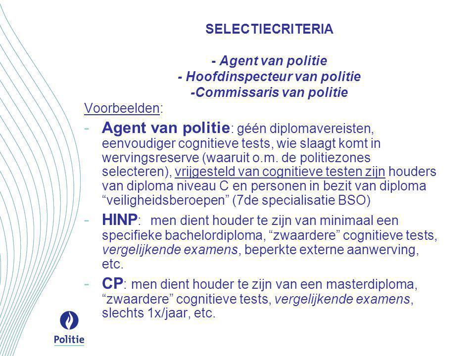 SELECTIECRITERIA - Agent van politie - Hoofdinspecteur van politie -Commissaris van politie Voorbeelden: -Agent van politie : géén diplomavereisten, e