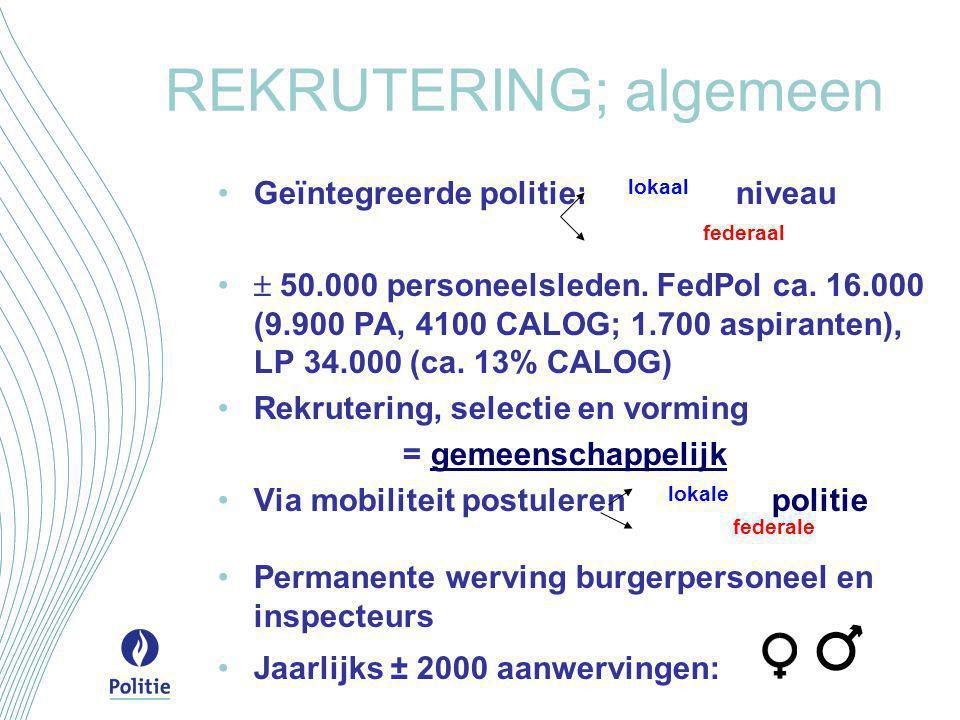 REKRUTERING; algemeen •Geïntegreerde politie: lokaal niveau federaal •  50.000 personeelsleden. FedPol ca. 16.000 (9.900 PA, 4100 CALOG; 1.700 aspira