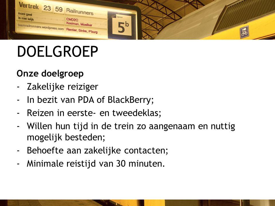 DOELGROEP Onze doelgroep -Zakelijke reiziger -In bezit van PDA of BlackBerry; -Reizen in eerste- en tweedeklas; -Willen hun tijd in de trein zo aangen