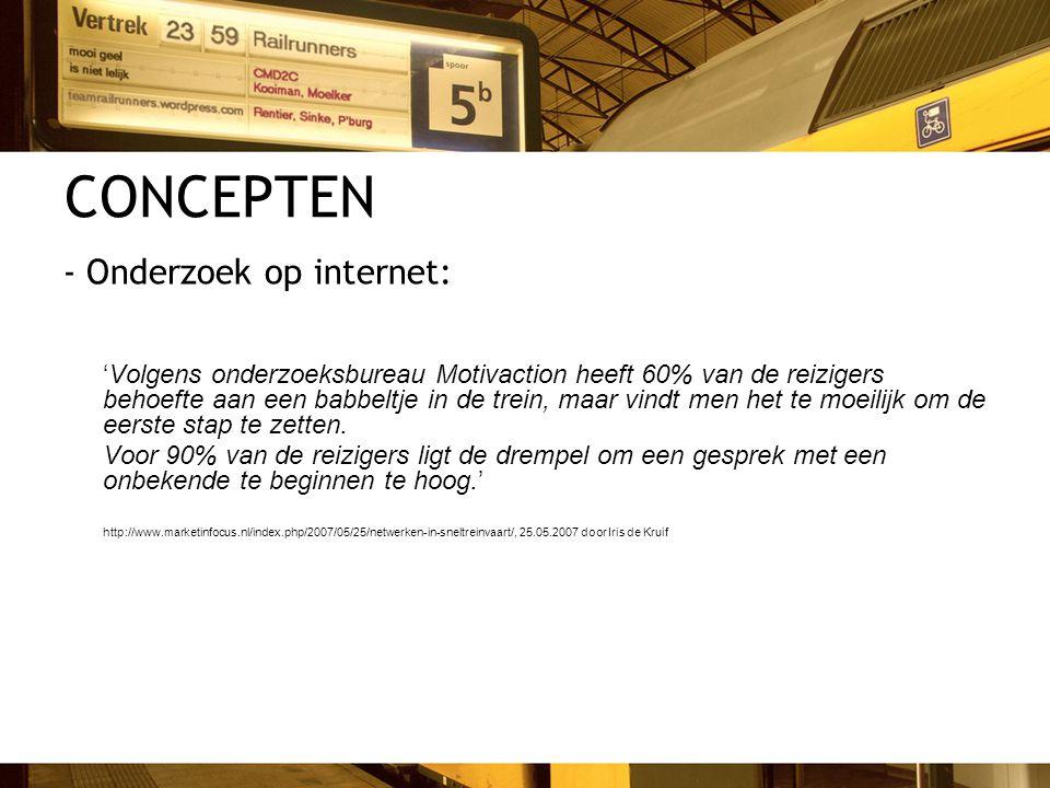 CONCEPTEN - Onderzoek op internet: 'Volgens onderzoeksbureau Motivaction heeft 60% van de reizigers behoefte aan een babbeltje in de trein, maar vindt