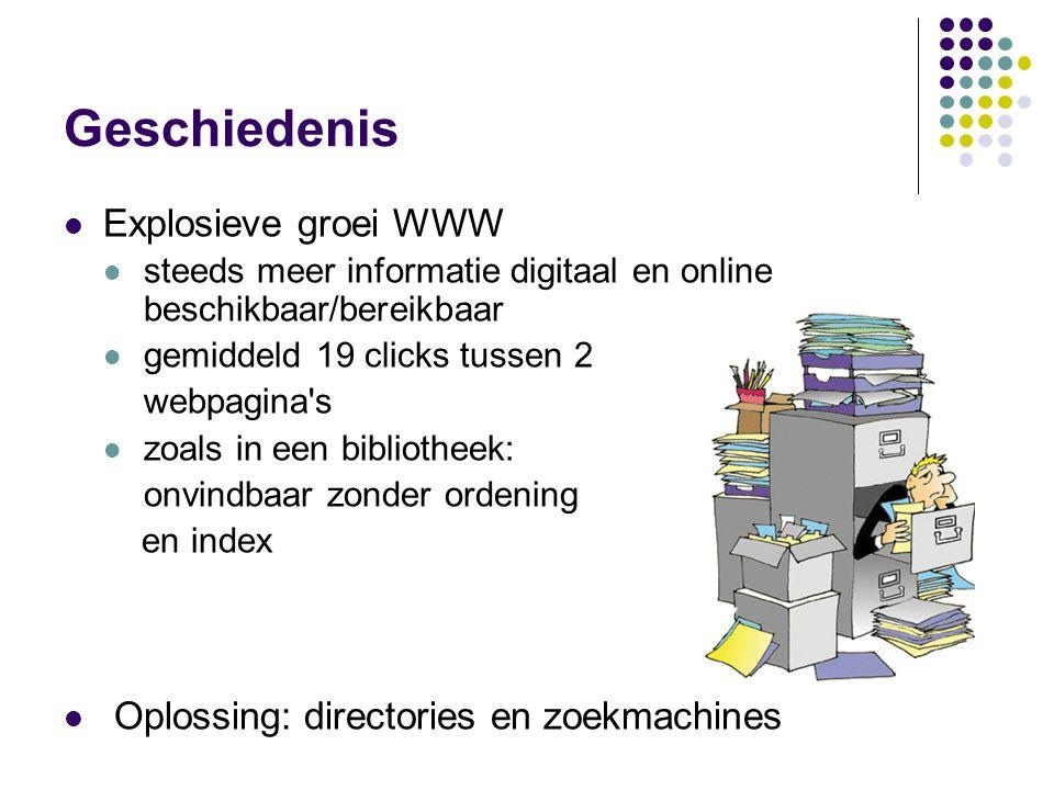 Geschiedenis  Explosieve groei WWW  steeds meer informatie digitaal en online beschikbaar/bereikbaar  gemiddeld 19 clicks tussen 2 webpagina s  zoals in een bibliotheek: onvindbaar zonder ordening en index  Oplossing: directories en zoekmachines