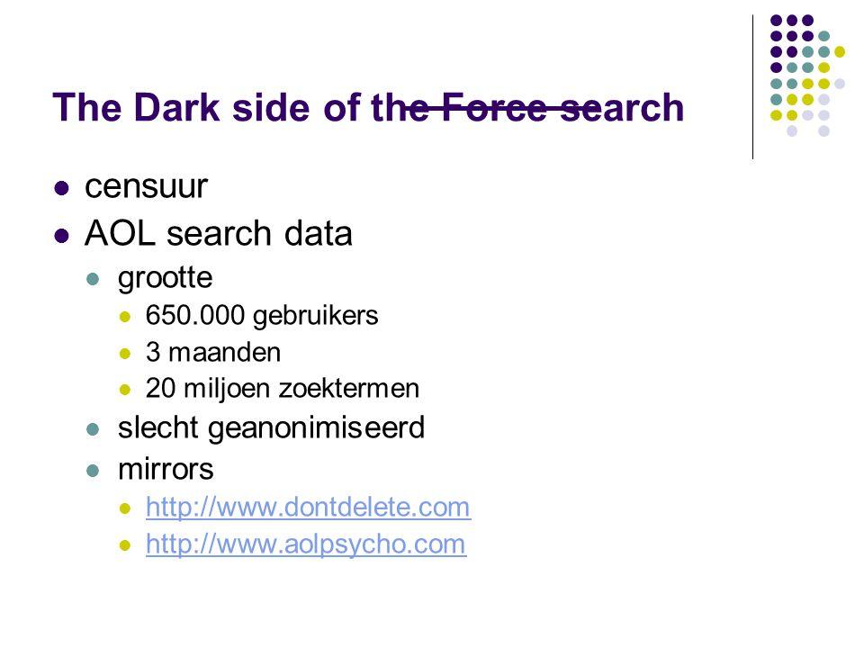 The Dark side of the Force search  censuur  AOL search data  grootte  650.000 gebruikers  3 maanden  20 miljoen zoektermen  slecht geanonimiseerd  mirrors  http://www.dontdelete.com http://www.dontdelete.com  http://www.aolpsycho.com http://www.aolpsycho.com