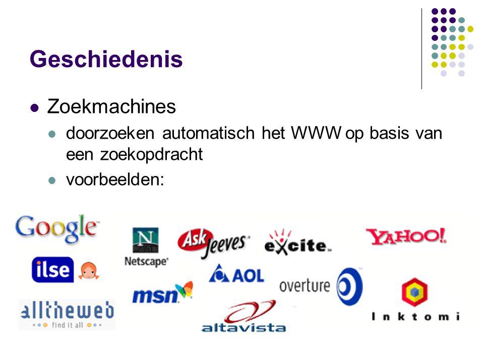 Geschiedenis  Zoekmachines  doorzoeken automatisch het WWW op basis van een zoekopdracht  voorbeelden: