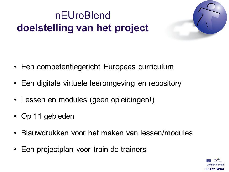 nEUroBlend doelstelling van het project •Een competentiegericht Europees curriculum •Een digitale virtuele leeromgeving en repository •Lessen en modul