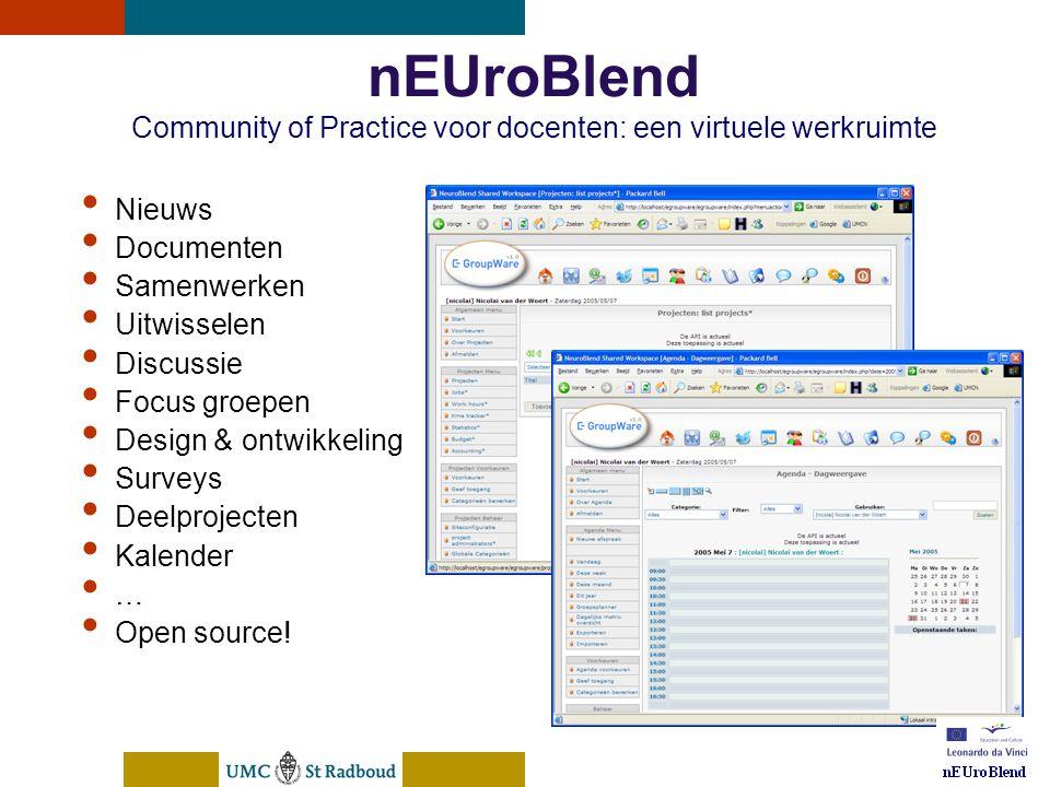 nEUroBlend Presentation, den Bosch, sep 30, 2005 nEUroBlend Community of Practice voor docenten: een virtuele werkruimte • Nieuws • Documenten • Samenwerken • Uitwisselen • Discussie • Focus groepen • Design & ontwikkeling • Surveys • Deelprojecten • Kalender • … • Open source!