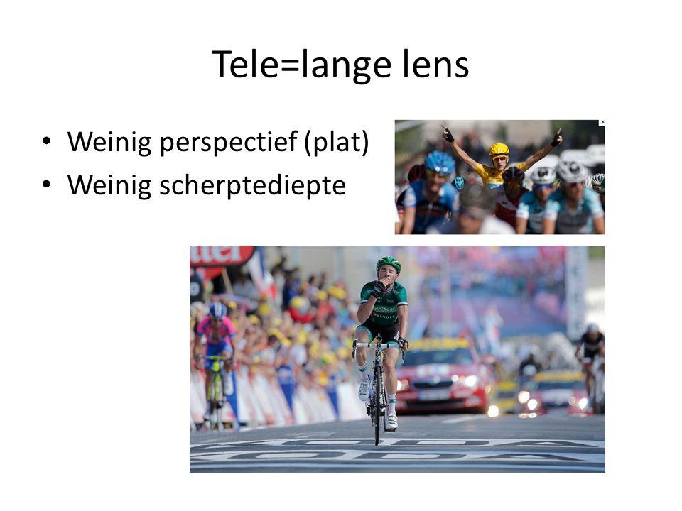 Tele=lange lens • Weinig perspectief (plat) • Weinig scherptediepte