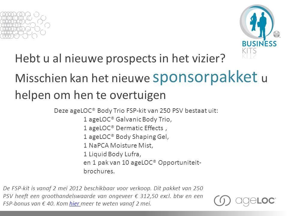 Deze ageLOC® Body Trio FSP-kit van 250 PSV bestaat uit: Hebt u al nieuwe prospects in het vizier? Misschien kan het nieuwe sponsorpakket u helpen om h