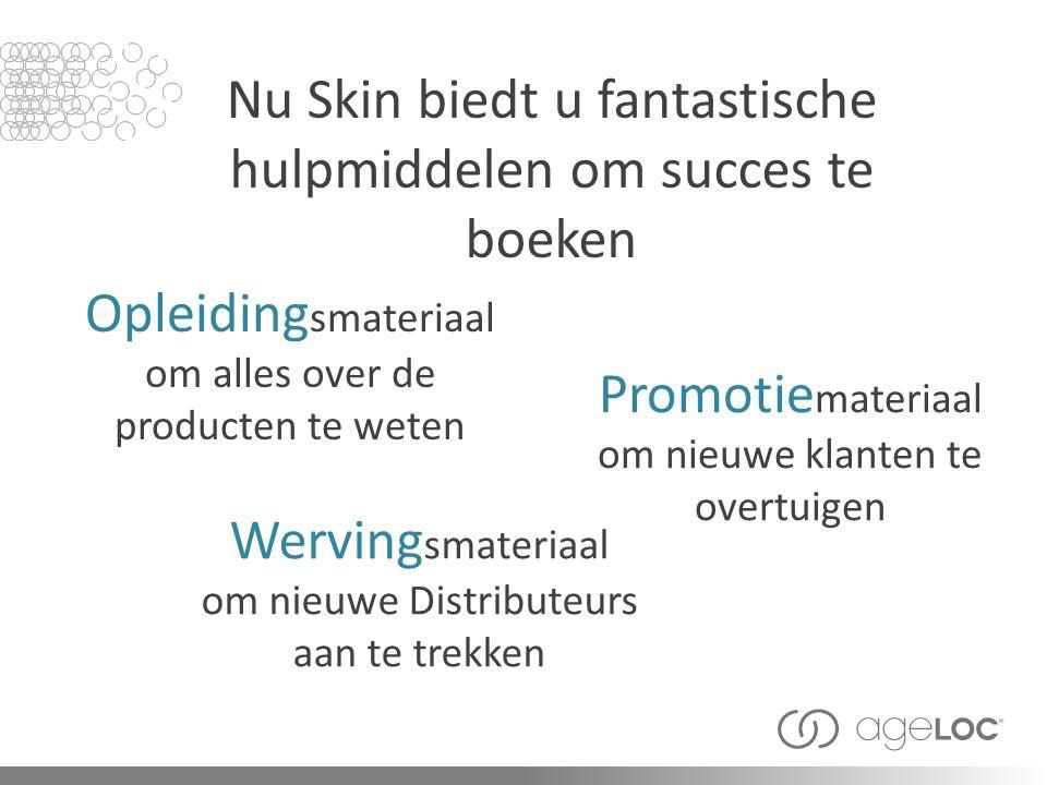Nu Skin biedt u fantastische hulpmiddelen om succes te boeken Promotie materiaal om nieuwe klanten te overtuigen Werving smateriaal om nieuwe Distribu