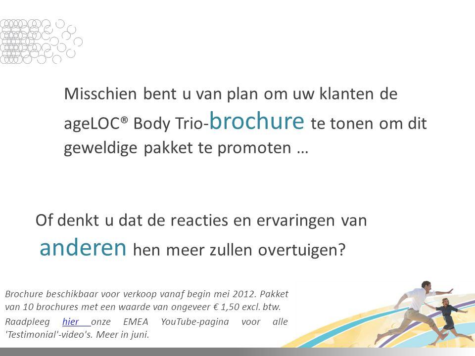 Misschien bent u van plan om uw klanten de ageLOC® Body Trio- brochure te tonen om dit geweldige pakket te promoten … Of denkt u dat de reacties en er