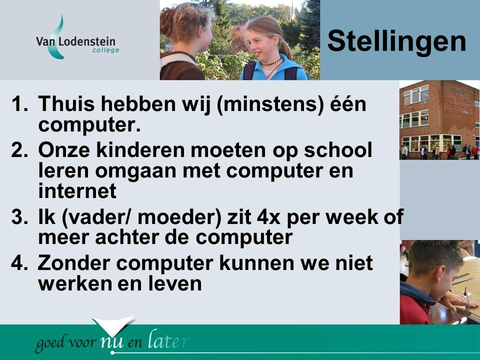 Stellingen 1.Thuis hebben wij (minstens) één computer. 2.Onze kinderen moeten op school leren omgaan met computer en internet 3.Ik (vader/ moeder) zit