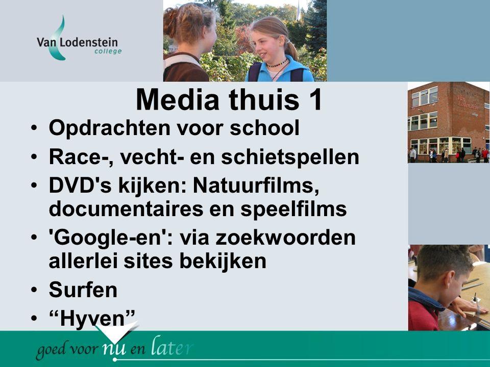Media thuis 1 •Opdrachten voor school •Race-, vecht- en schietspellen •DVD's kijken: Natuurfilms, documentaires en speelfilms •'Google-en': via zoekwo