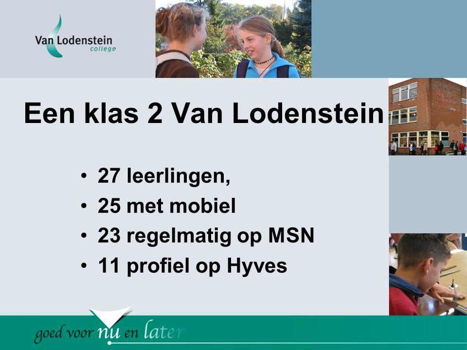 Een klas 2 Van Lodenstein •27 leerlingen, •25 met mobiel •23 regelmatig op MSN •11 profiel op Hyves