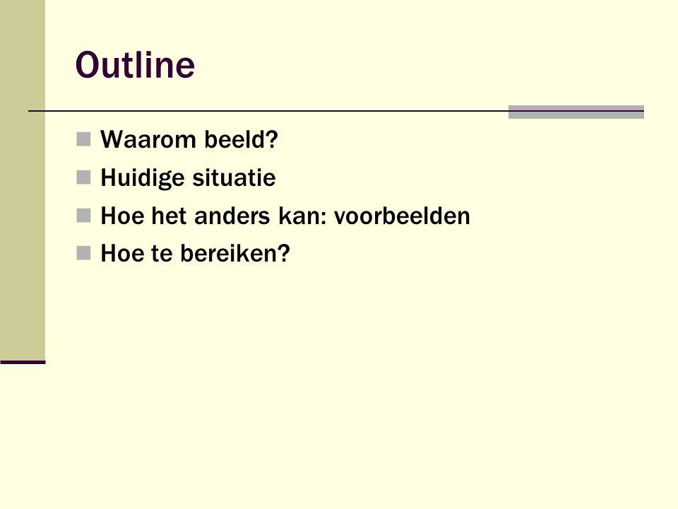 Outline  Waarom beeld?  Huidige situatie  Hoe het anders kan: voorbeelden  Hoe te bereiken?