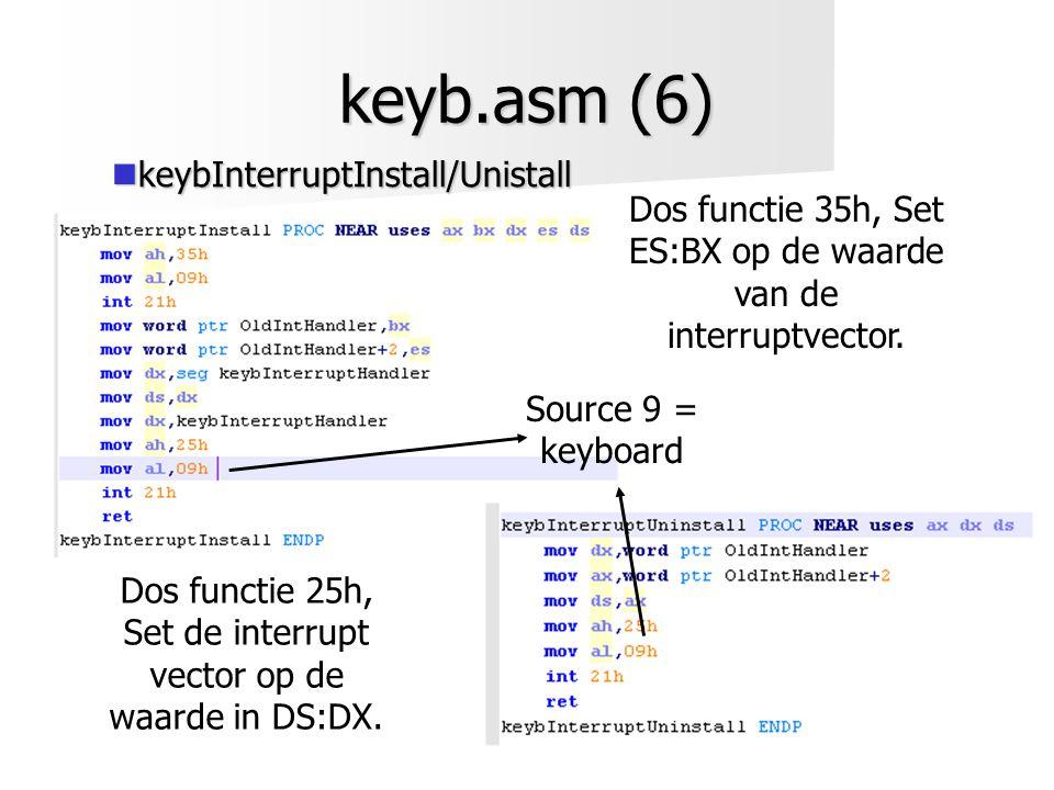 keyb.asm (6)  keybInterruptInstall/Unistall Dos functie 35h, Set ES:BX op de waarde van de interruptvector. Dos functie 25h, Set de interrupt vector