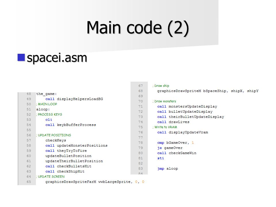 Main code (2)  spacei.asm