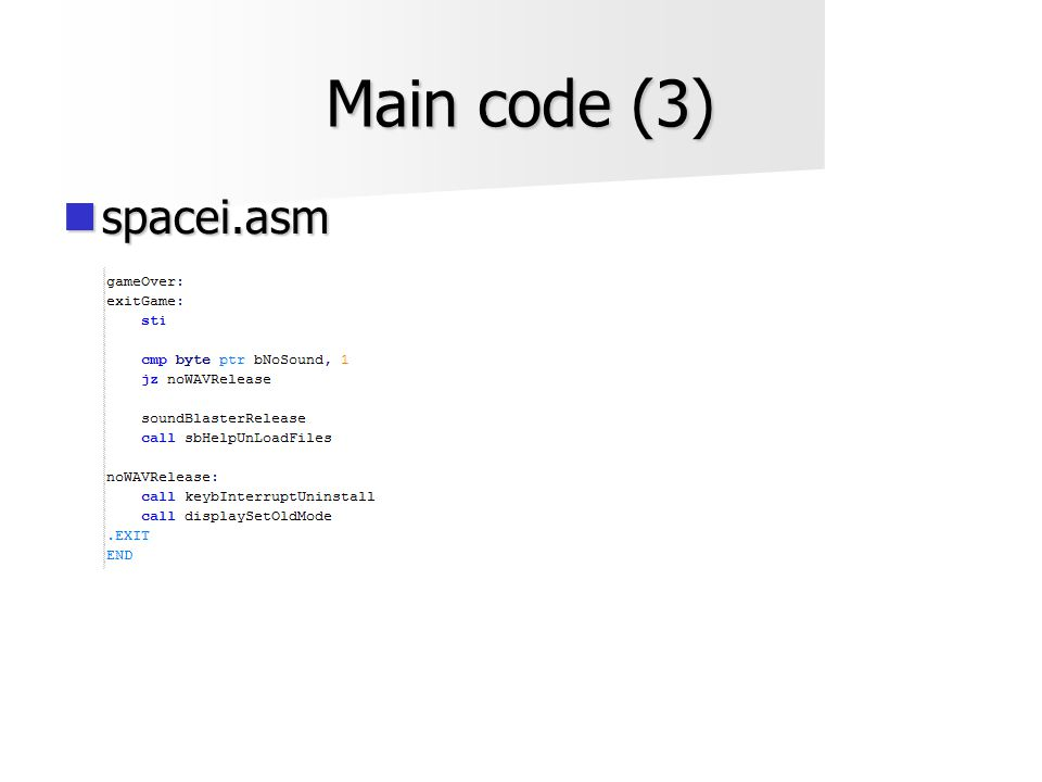 Main code (3)  spacei.asm