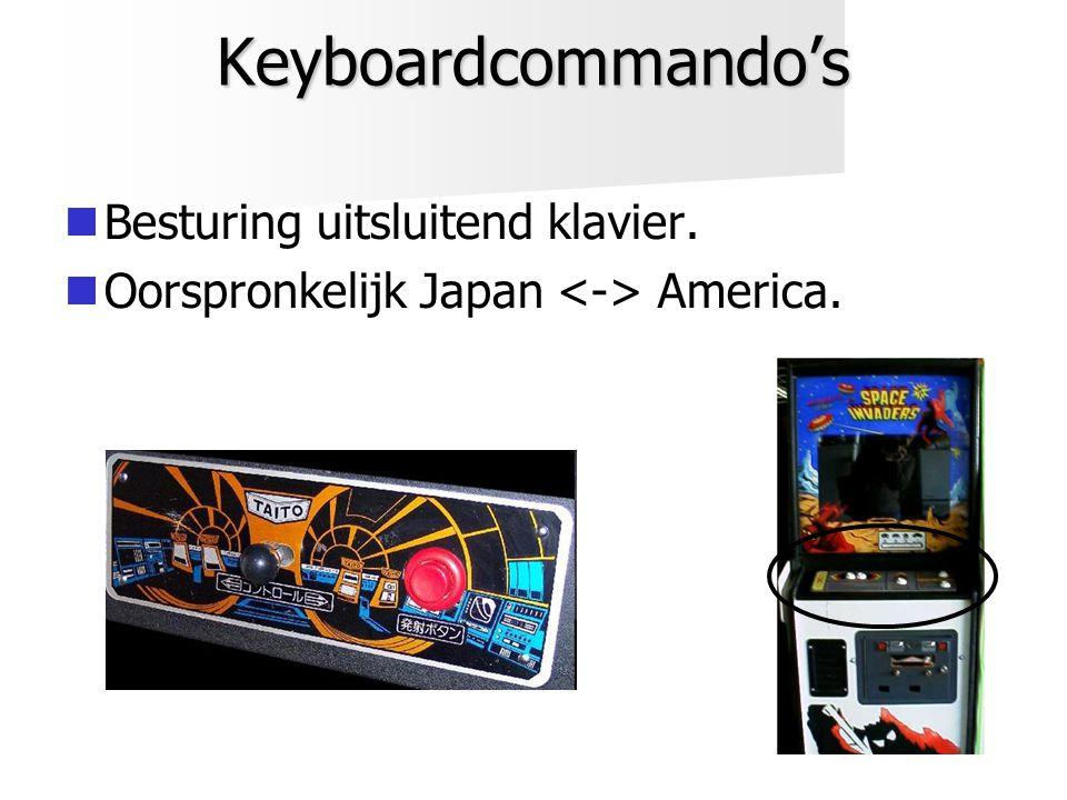Keyboardcommando's   Besturing uitsluitend klavier.   Oorspronkelijk Japan America.