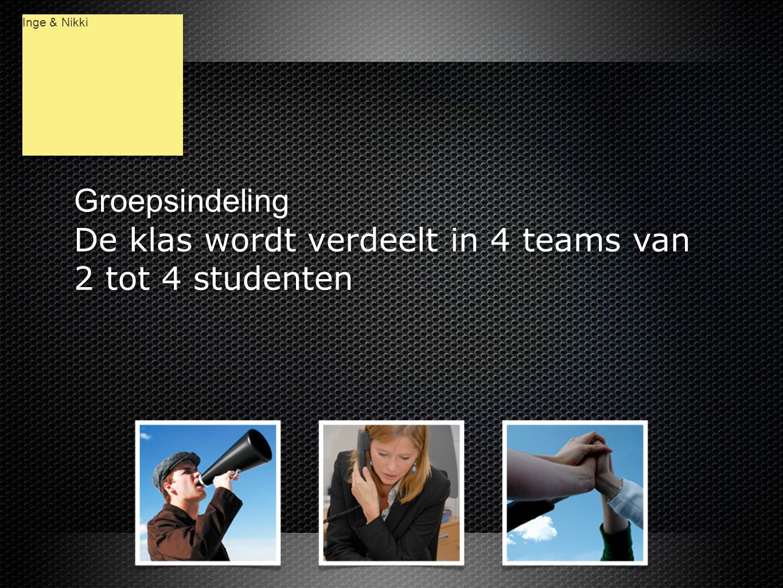 Groepsindeling De klas wordt verdeelt in 4 teams van 2 tot 4 studenten Groepsindeling De klas wordt verdeelt in 4 teams van 2 tot 4 studenten Inge & Nikki