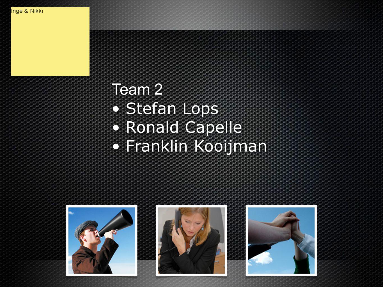 Team 2 • Stefan Lops • Ronald Capelle • Franklin Kooijman Team 2 • Stefan Lops • Ronald Capelle • Franklin Kooijman Inge & Nikki
