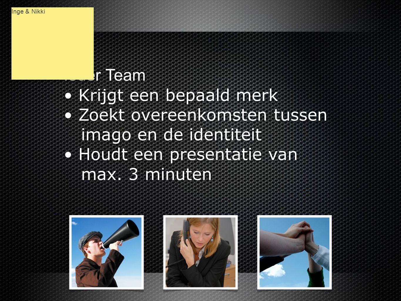 Ieder Team • Krijgt een bepaald merk • Zoekt overeenkomsten tussen imago en de identiteit • Houdt een presentatie van max.