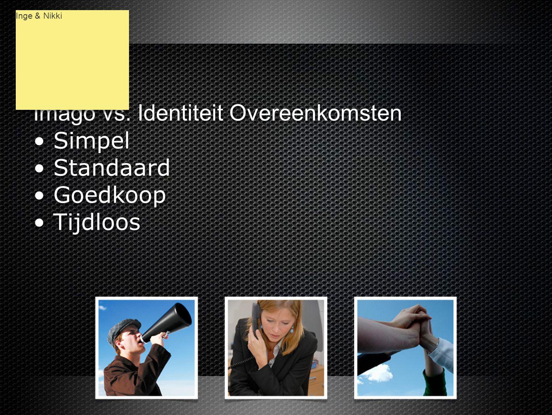 Imago vs. Identiteit Overeenkomsten • Simpel • Standaard • Goedkoop • Tijdloos Imago vs.