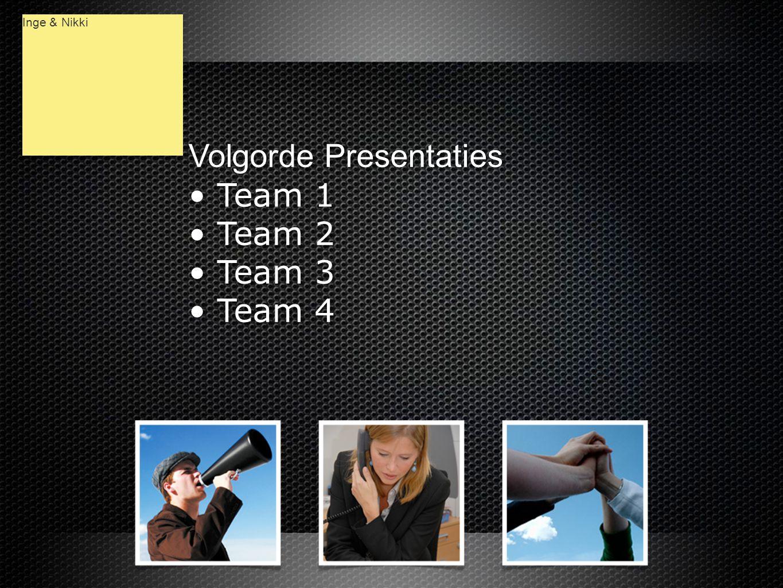 Volgorde Presentaties • Team 1 • Team 2 • Team 3 • Team 4 Volgorde Presentaties • Team 1 • Team 2 • Team 3 • Team 4 Inge & Nikki