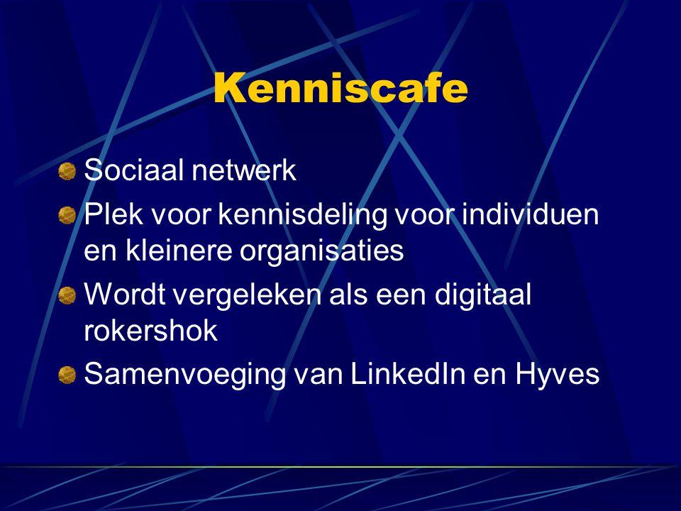 Kenniscafe Sociaal netwerk Plek voor kennisdeling voor individuen en kleinere organisaties Wordt vergeleken als een digitaal rokershok Samenvoeging va