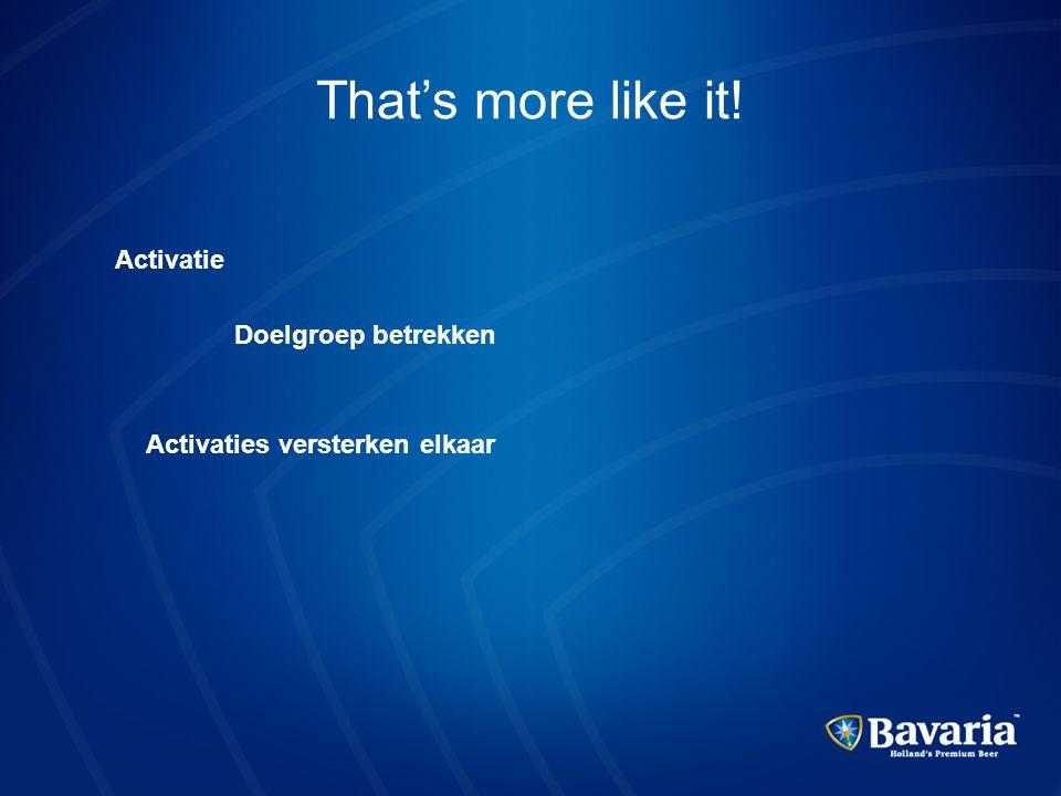 That's more like it! Activatie Doelgroep betrekken Activaties versterken elkaar