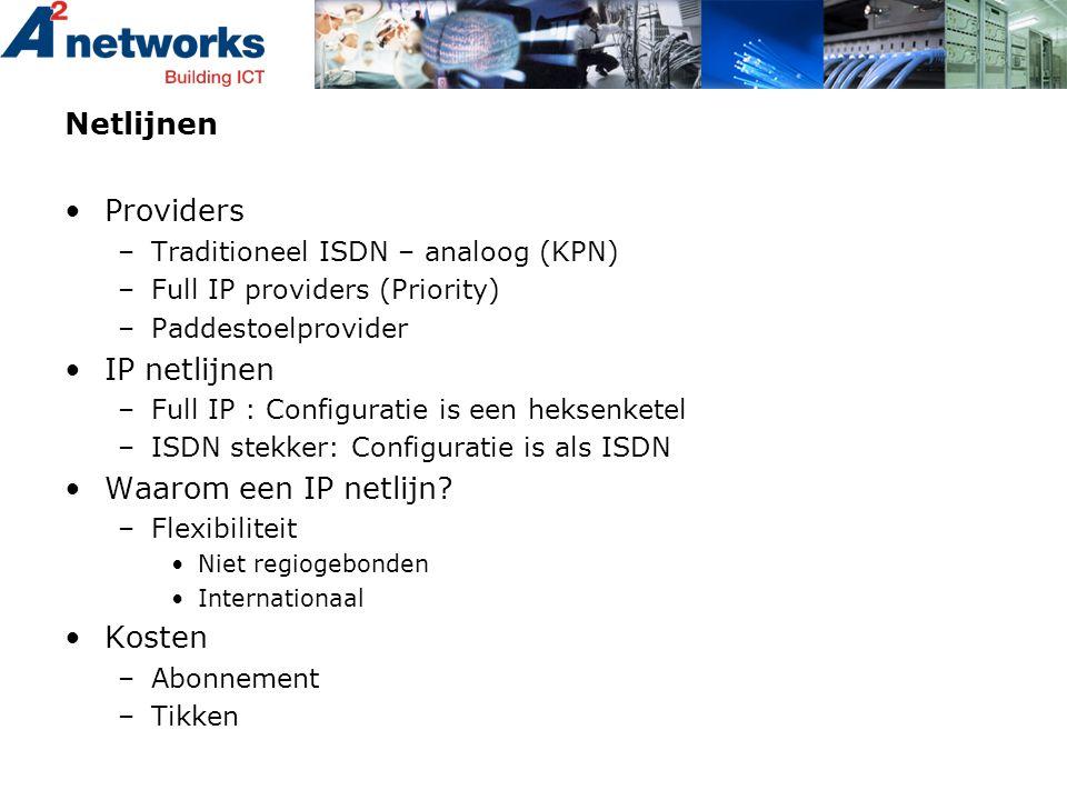 Netlijnen •Providers –Traditioneel ISDN – analoog (KPN) –Full IP providers (Priority) –Paddestoelprovider •IP netlijnen –Full IP : Configuratie is een
