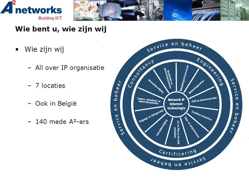Wie bent u, wie zijn wij •Wie zijn wij –All over IP organisatie –7 locaties –Ook in België –140 mede A²-ers