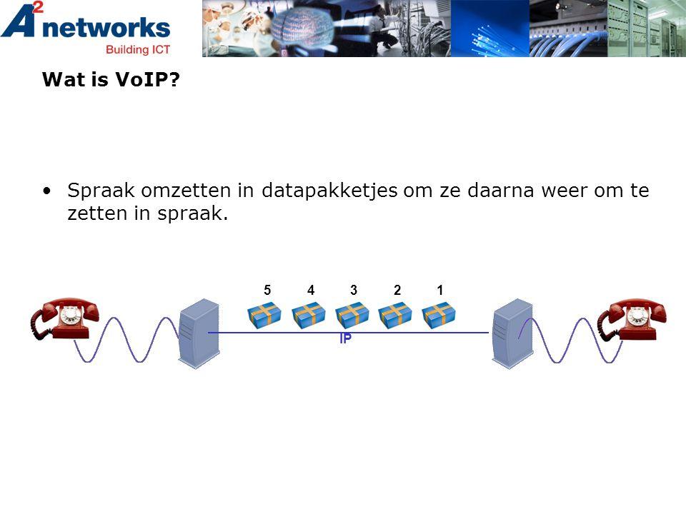 •Spraak omzetten in datapakketjes om ze daarna weer om te zetten in spraak. Wat is VoIP? IP 12345
