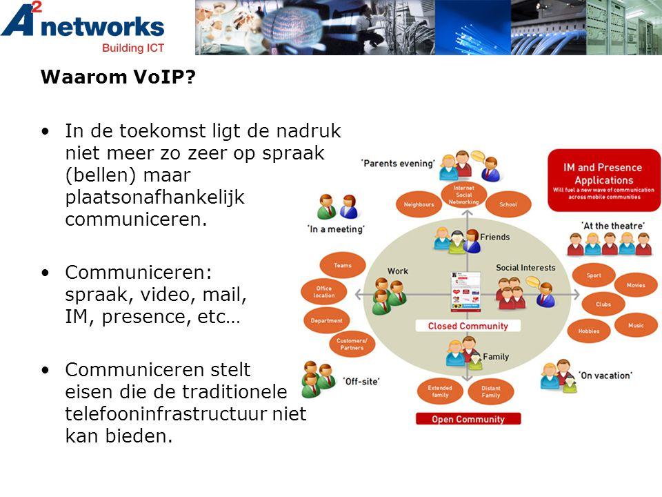 Waarom VoIP? •In de toekomst ligt de nadruk niet meer zo zeer op spraak (bellen) maar plaatsonafhankelijk communiceren. •Communiceren: spraak, video,