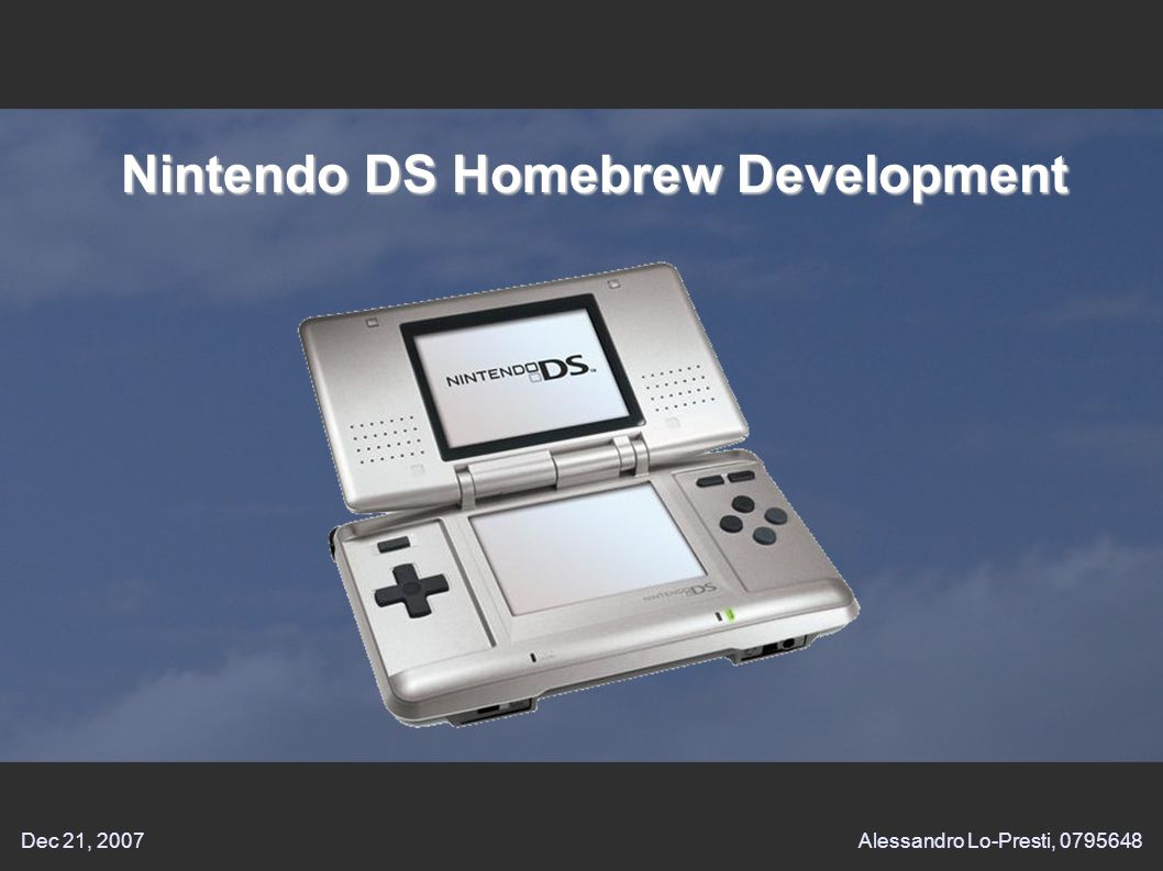 Dec 21, 2007Alessandro Lo-Presti, Nintendo DS Homebrew Development