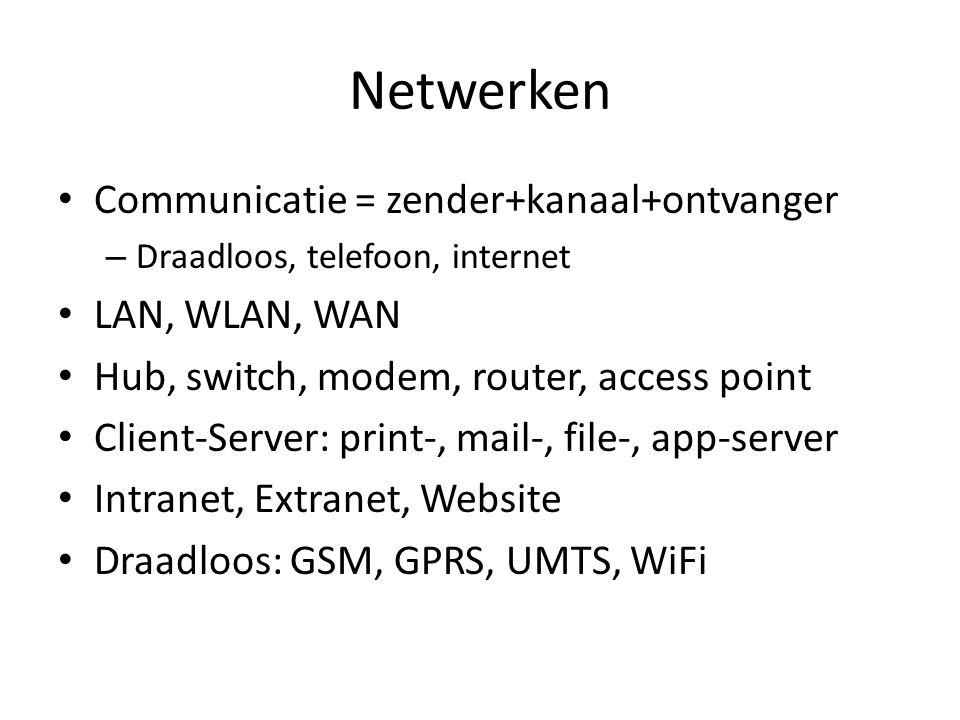 Netwerken • Communicatie = zender+kanaal+ontvanger – Draadloos, telefoon, internet • LAN, WLAN, WAN • Hub, switch, modem, router, access point • Clien
