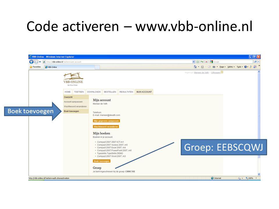 Code activeren – www.vbb-online.nl Boek toevoegen Groep: EEBSCQWJ