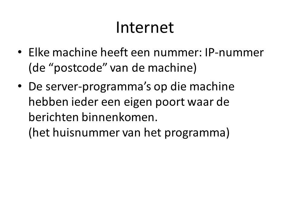 """Internet • Elke machine heeft een nummer: IP-nummer (de """"postcode"""" van de machine) • De server-programma's op die machine hebben ieder een eigen poort"""