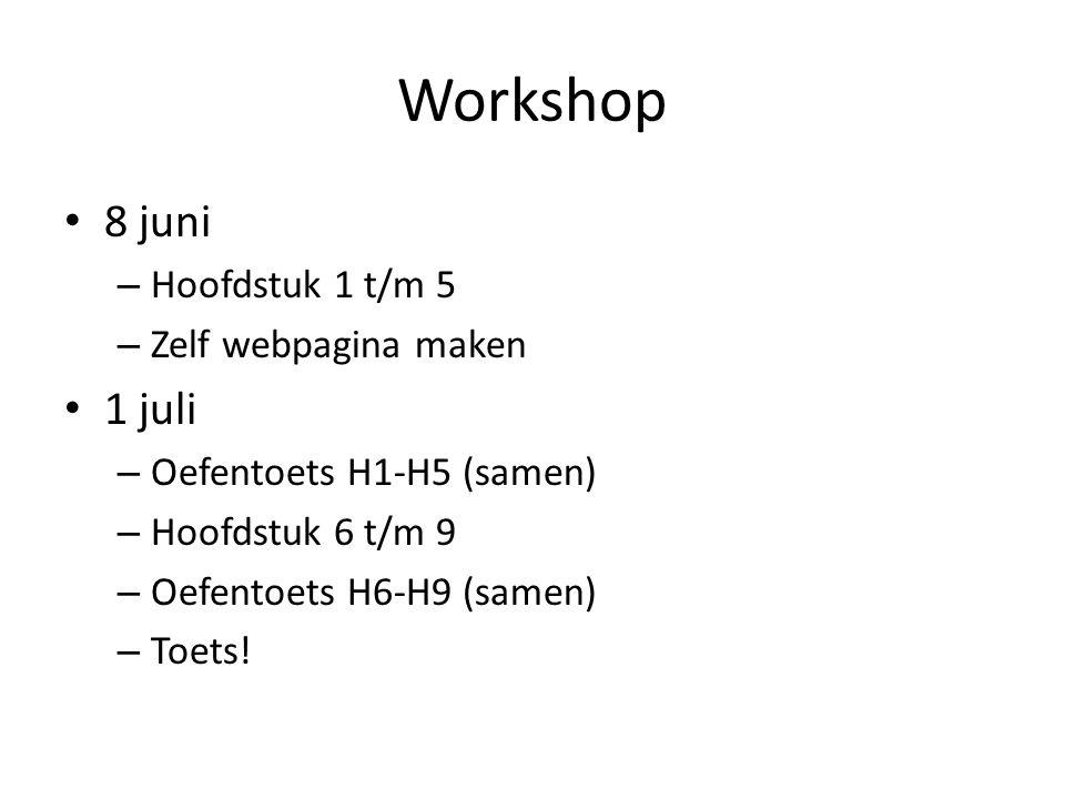 Workshop • 8 juni – Hoofdstuk 1 t/m 5 – Zelf webpagina maken • 1 juli – Oefentoets H1-H5 (samen) – Hoofdstuk 6 t/m 9 – Oefentoets H6-H9 (samen) – Toet