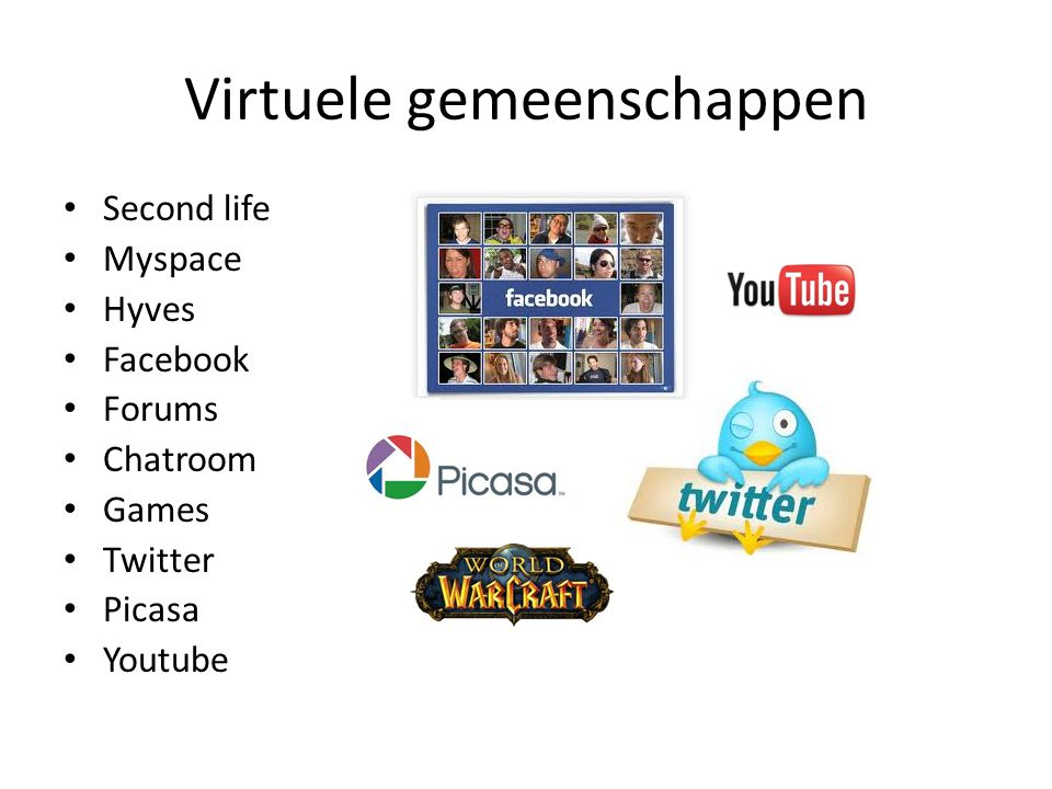 Virtuele gemeenschappen • Second life • Myspace • Hyves • Facebook • Forums • Chatroom • Games • Twitter • Picasa • Youtube