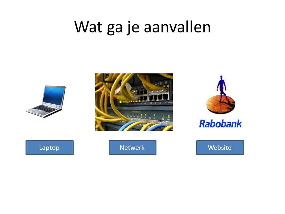 Wat ga je aanvallen LaptopNetwerkWebsite